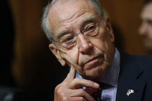 (AP Photo/Pablo Martinez Monsivais). FILE - In this Sept, 28, 2018 file photo, Senate Judiciary Committee Chairman Chuck Grassley of Iowa chairs a meeting of the committee on Capitol Hill in Washington.  McConnell's blockade of a popular criminal justi...