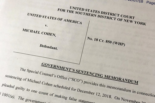 (AP Photo/Wayne Partlow). A portion of a court filing by prosecutors from the special counsel's office released Friday, Dec. 7, 2018, laid out for the first time details of Cohen's cooperation with investigators and took positions on the punishment he ...