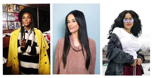 (Photos by Taylor Jewell, Drew Gurian, Victoria Will/Invision/AP, File). FILE - This 2018 combination of file photo shows, Janelle Monae, from left, Kacey Musgraves, and H.E.R. in New York. Female musicians who not only write their own lyrics - but pro...