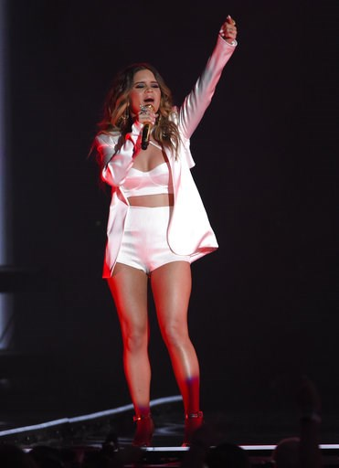 """(Photo by Chris Pizzello/Invision/AP, File). FILE - In this May 20, 2018 file photo, Maren Morris performs """"The Middle"""" at the Billboard Music Awards at the MGM Grand Garden Arena in Las Vegas. A list of nominees in the top categories at the 2019 Gramm..."""