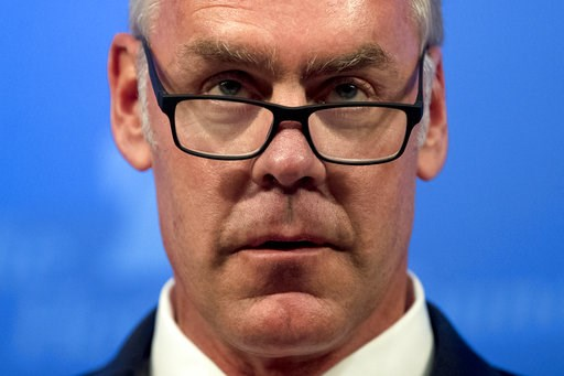 (AP Photo/Andrew Harnik, File). FILE - In this Sept. 29, 2017 file photo, then Interior Secretary Ryan Zinke speaks on the Trump Administration's energy policy at the Heritage Foundation in Washington. As former U.S. Interior Secretary Zinke departs Tr...