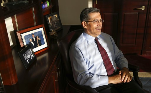(AP Photo/Rich Pedroncelli). In this photo taken Oct. 10, 2018, California Attorney General Xavier Becerra discusses various issues during an interview with The Associated Press, in Sacramento, Calif. As the first Latino attorney general in the most po...