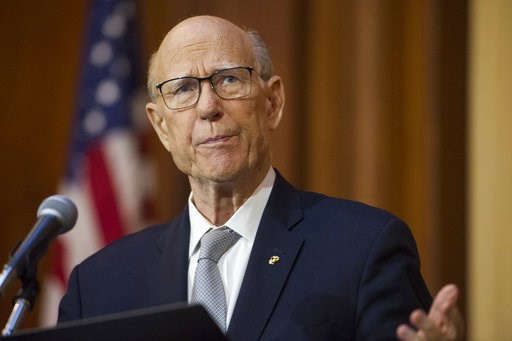 (AP Photo/Cliff Owen, File). FILE - In this Dec. 11, 2018 file photo, Senate Agriculture Committe Chairman Pat Roberts, R-Kansas, speaks during the signing of an order withdrawing federal protections for countless waterways and wetlands, at EPA headqua...