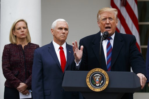 (AP Photo/Manuel Balce Ceneta). President Donald Trump speaks during a news conference in the Rose Garden of the White House after meeting with lawmakers about border security, Friday, Jan. 4, 2019, in Washington, Secretary of Homeland Security Kirstje...