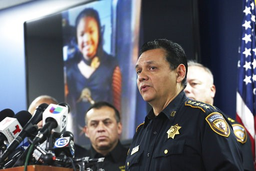 (Nicole Hensley/Houston Chronicle via AP). Harris County Sheriff Ed Gonzalez speaks during a news conference, Monday, Dec. 31, 2018, in Houston. Authorities are seeking the public's help in locating a man in a pickup truck who pulled up next to a car t...