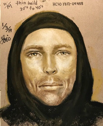 (Harris County Sheriff's Office via AP). This Thursday, Jan. 3, 2019, sketch provided by the Harris County Sheriff's Office in Houston, Texas, shows an artist's rendition of the suspect in the fatal shooting of 7-year-old Jazmine Barnes on Sunday, Jan....