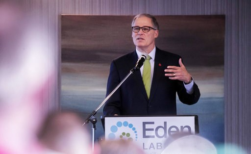 (Erika Schultz/The Seattle Times via AP). Washington Gov. Jay Inslee speaks at the annual Washington Cannabis Summit, Friday, Jan. 4, 2019, in SeaTac, Wash. Seven years after the state legalized the adult use of marijuana, Inslee says he plans to pardo...