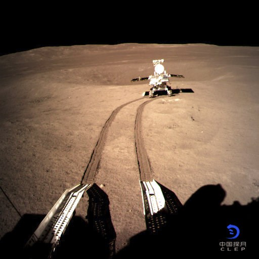 (China National Space Administration/Xinhua News Agency via AP). In this photo provided on Jan. 4, 2019, by China National Space Administration via Xinhua News Agency, Yutu-2, China's lunar rover, leaves wheel marks after leaving the lander that touche...