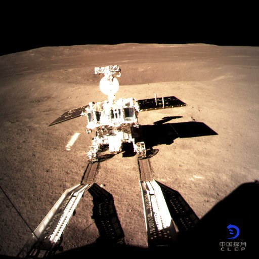 (China National Space Administration/Xinhua News Agency via AP). In this photo provided on Thursday, Jan. 3, 2019, by China National Space Administration via Xinhua News Agency, Yutu-2, China's lunar rover, leaves wheel marks after leaving the lander t...