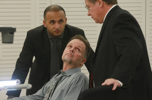 "(John Gibbins/The San Diego Union-Tribune via AP, Pool). FILE - In this June, 15, 2015, file photo Charles ""Chase"" Merritt, center, speaks with his attorneys Jimmy Mettias, left, and Jim Terrell, before his preliminary hearing in San Bernadino, Calif. ..."