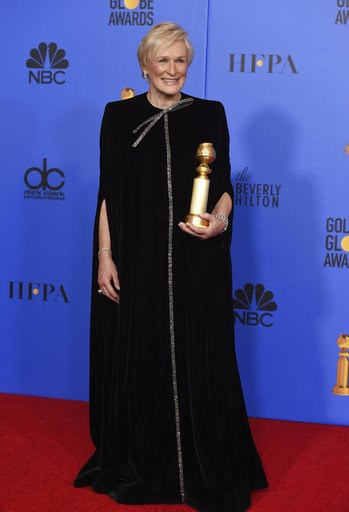 """(Photo by Jordan Strauss/Invision/AP). Glenn Close poses in the press room with the award for best performance by an actress in a motion picture, drama for """"The Wife"""" at the 76th annual Golden Globe Awards at the Beverly Hilton Hotel on Sunday, Jan. 6,..."""