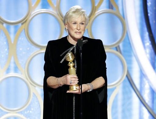 """(Paul Drinkwater/NBC via AP). This image released by NBC shows Glenn Close accepting the award for best actress in a drama film for her role in """"The Wife"""" during the 76th Annual Golden Globe Awards at the Beverly Hilton Hotel on Sunday, Jan. 6, 2019, i..."""