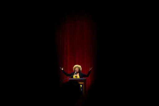 (Jake May/The Flint Journal via AP, File). FILE- In this Feb. 19, 2015, file photo Angela Davis, author, educator and iconic civil rights activist, speaks during her visit to the University of Michigan-Flint, in Flint, Mich. The Birmingham Civil Rights...