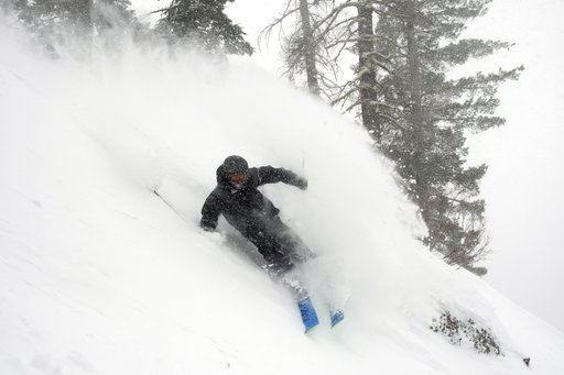 (Blake Kessler via AP). In this photo provided by Blake Kessler, Wesley Kepke skis in Alpine Meadows, Calif., on Sunday, Jan. 6, 2019. A winter storm swept through parts of California, Nevada and Utah, bringing heavy snow to some communities.