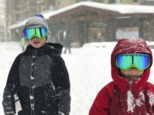 (Michael Patrick O'Neill via AP). This photo provided by Michael Patrick O'Neill shows his sons Liam, left, and Finn in the snow at Squaw Valley, Lake Tahoe, Calif., on Sunday, Jan. 6, 2019. A winter storm swept through parts of California, Nevada and ...