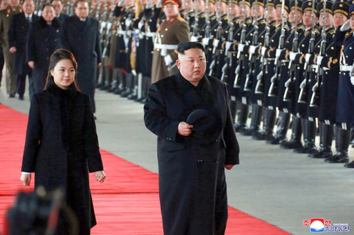(Korean Central News Agency/Korea News Service via AP). In this Monday, Jan. 7, 2019, photo provided on Tuesday, Jan. 8, 2019 by the North Korean government, North Korean leader Kim Jong Un walks with his wife Ri Sol Ju at Pyongyang Station in Pyongyan...