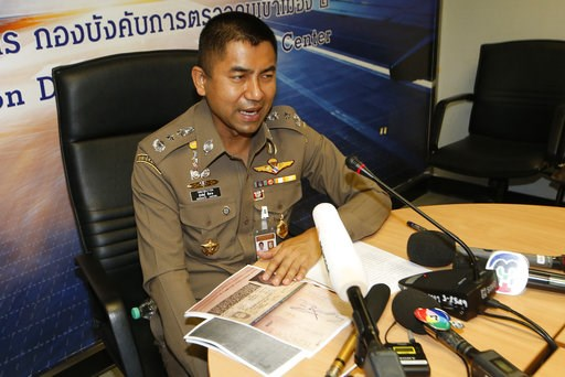 (AP Photo/Sakchai Lalit). Chief of Immigration Police Maj. Gen. Surachate Hakparn talks to media about the status Rahaf Mohammed Alqunun during a press conference at the Suvarnabhumi Airport in Bangkok Monday, Jan. 7, 2019. Thailand's Immigration Polic...