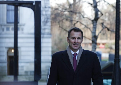 (AP Photo/Alastair Grant). Britain's Foreign Secretary Jeremy Hunt arrives for a cabinet meeting in Downing street in London, Tuesday, Jan. 8, 2019.