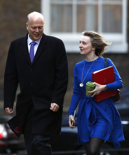 (AP Photo/Alastair Grant). Chris Grayling, Leader of the House of Commons, and Liz Truss, Chief Secretary to the Treasury, arrive for a cabinet meeting in Downing street in London, Tuesday, Jan. 8, 2019.