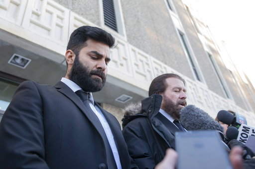 (Kayle Neis/The Canadian Press via AP). Jaskirat Singh Sidhu leaves provincial court with his lawyer Mark Brayford, right, in Melfort, Saskatchewan, Tuesday, Jan. 8, 2019. Sidhu, the driver of a transport truck involved in a bus crash that killed 16 pe...