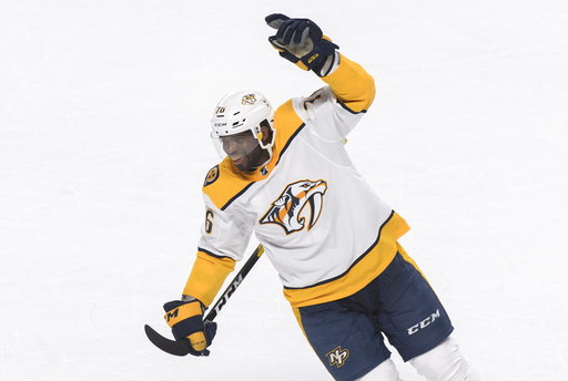 (Graham Hughes/The Canadian Press via AP). Nashville Predators' P.K. Subban reacts after his team's win over the Montreal Canadiens in an NHL hockey game in Montreal, Saturday, Jan. 5, 2019.