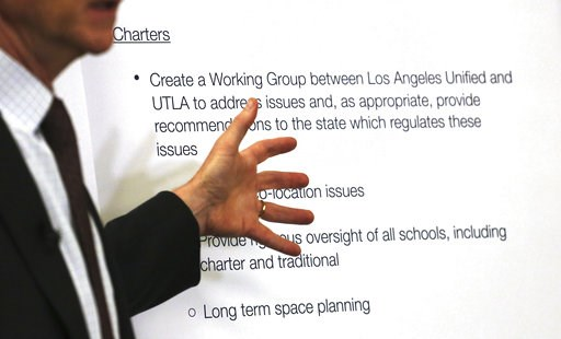 (AP Photo/Reed Saxon). In this Monday, Jan. 7, 2018 photo, Los Angeles Unified School District Superintendent Austin Beutner talks to reporters at district headquarters following a day of negotiations with the United Teachers Los Angeles union. Teacher...
