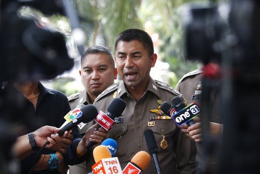 (AP Photo/Sakchai Lalit). Chief of Immigration Police Maj. Gen. Surachate Hakparn talks to media about the status of Rahaf Mohammed Alqunun outside the Saudi Arabia Embassy in Bangkok Tuesday, Jan. 8, 2019. TThailand's Immigration Police chief met Tues...