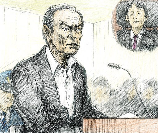 (Nobutoshi Katsuyama/Kyodo News via AP). This courtroom sketch depicts former Nissan chairman Carlos Ghosn in a courtroom at the Tokyo District Court in Tokyo Tuesday, Jan. 8, 2019. Ghosn, denied any wrongdoing and proclaimed his loyalty to the company...