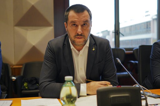 (AP Photo/Andrew Medichini). Italian Interior Minister and deputy Premier Matteo Salvini attends a meeting on violence during soccer matches, in Rome, Monday, Jan. 7, 2019. The meeting was scheduled  following the death of a Inter Milan fan during clas...