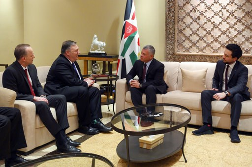 (Andrew Caballero-Reynolds/Pool Photo via AP). Secretary of State Mike Pompeo, second from left, meets with King Abdullah of Jordan, second from right, Tuesday, Jan. 8, 2019, in Amman, Jordan.
