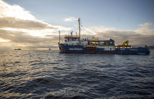 (AP Photo/Rene Rossignaud). The Sea-Watch ship waits off the coast of Malta, Tuesday, Jan. 8, 2018. Two German nonprofit groups are appealing to European Union countries to take in 49 migrants whose health is deteriorating while they are stuck on rescu...