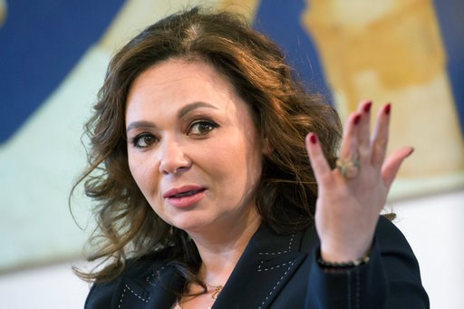 (AP Photo/Dmitry Serebryakov, File). FILE - In this April 22, 2018 file photo, Russian lawyer Natalia Veselnitskaya speaks during an interview with The Associated Press in Moscow. Veselnitskaya, who became a focal point of the investigation into whethe...