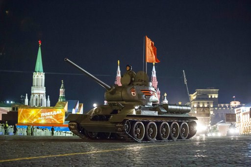 (AP Photo/Alexander Zemlianichenko, File). FILE - In this Thursday, May 3, 2018 filer, a World War II era Soviet tanks T-34 makes its way through the Red Square during a rehearsal for the Victory Day military parade in Moscow, Russia. The Russian Defen...