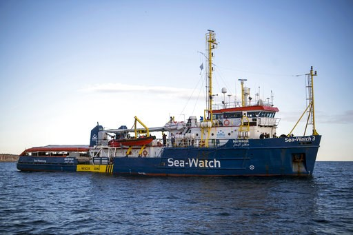 (AP Photo/Rene Rossignaud). The Sea-Watch rescue ship waits off the coast of Malta, Tuesday, Jan. 8, 2018. Two German nonprofit groups are appealing to European Union countries to take in 49 migrants whose health is deteriorating while they are stuck o...