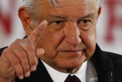 (AP Photo/Rebecca Blackwell). Mexican President Andres Manuel Lopez Obrador gives a press conference in Mexico City, Wednesday, Jan. 9, 2019. Mexico's new president issued an emotional appeal to his countrymen to help battle against fuel thefts, as lon...