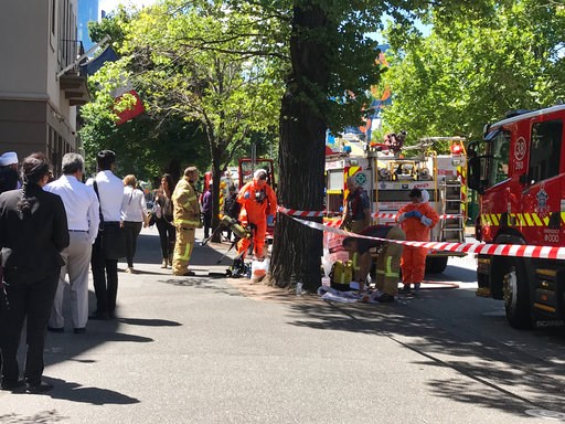 (Kaitlyn Offer/AAP Image via AP). Hazmat and fire crews work outside the Indian and French Consulate in Melbourne, Australia Wednesday, Jan. 9, 2019. At least seven international consulates were evacuated in Melbourne, Australia, on Wednesday after rep...