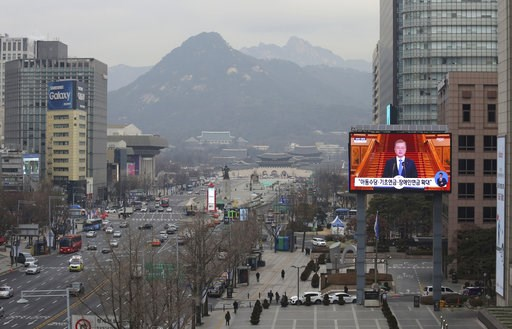 (AP Photo/Ahn Young-joon). A TV screen shows the live broadcast of South Korean President Moon Jae-in's press conference in Seoul, South Korea, Thursday, Jan. 10, 2019. Moon has suggested he'll push for sanction exemptions to restart dormant economic c...