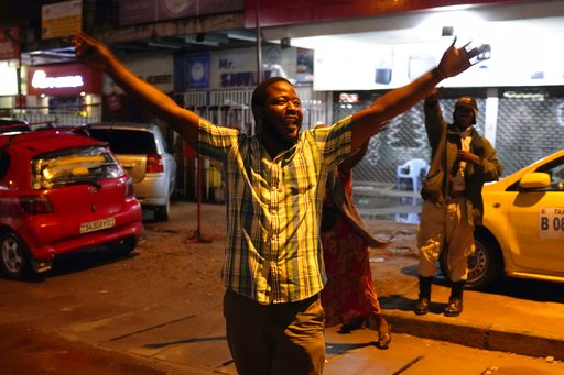 (AP Photo/Jerome Delay). Residents celebrate in Kinshasa, Congo, Thursday Jan. 10, 2019, after learning that opposition presidential candidate Felix Tshisekedi had been declared the winner of the elections.