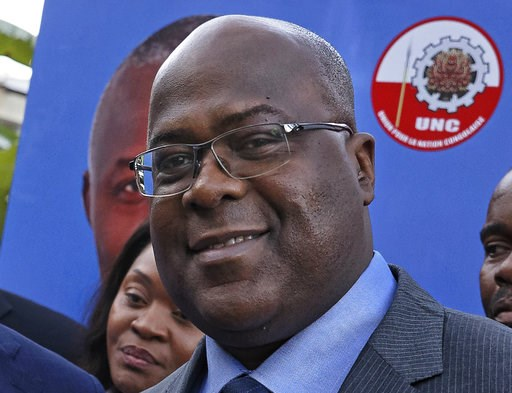 (AP Photo/Ben Curtis, File). FILE - This Nov. 23, 2018, file photo shows Felix Tshisekedi of Congo's Union for Democracy and Social Progress opposition party, at a press conference in Nairobi, Kenya. Congo opposition leader Tshisekedi has won the long-...