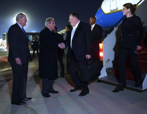 (Andrew Caballero-Reynolds/Pool Photo via AP). U.S. Secretary of State Mike Pompeo, and his wife Susan, right, are greeted by Assistant Foreign Minister For North and South American Affairs, Reda Habeeb Ibrahim Zaki , second from left, and Charge d'Aff...