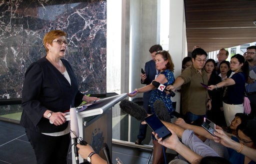 (AP Photo/Gemunu Amarasinghe). Australia's Foreign Minister Marise Payne, left, gestures as she answers a journalist's question in Bangkok, Thailand, Thursday, Jan. 10, 2019. Visiting Thailand on Thursday, Payne praised her hosts for their handling of ...