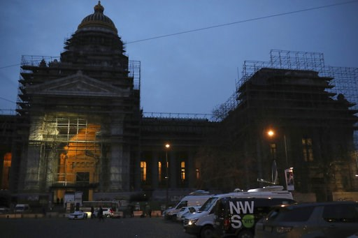 (AP Photo/Francisco Seco). Media trucks are parked in front of the Justice Palace during the trial of Mehdi Nemmouche in Brussels, Thursday, Jan. 10, 2019. Mehdi Nemmouche is accused of shooting dead four people at a Jewish museum in Belgium in 2014.