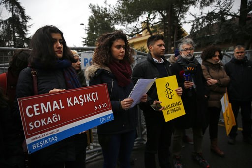 (AP Photo/Lefteris Pitarakis). Members of Amnesty International stage a protest near the Saudi consulate in Istanbul, Thursday, Jan. 10, 2019, marking the 100th day since Saudi journalist Jamal Khashoggi was killed in the kingdom's consulate on Oct. 2....