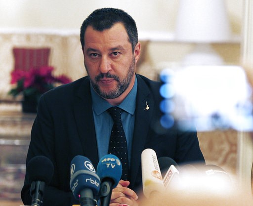 (AP Photo/Czarek Sokolowski). Italian Interior Minister Matteo Salvini speaks to reporters following his talks with Jaroslaw Kaczynski, leader of Poland's Law and Justice party, at the Italian Embassy in Warsaw, Poland, on Wednesday, Jan. 9, 2019. His ...