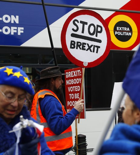 (AP Photo/Alastair Grant). Anti-Brexit demonstrator makes his views known, outside parliament in London, Thursday Jan. 10, 2019. Prime Minister Theresa May's proposed Brexit deal seems widely disliked by both pro-Europe and pro-Brexit politicians, thre...