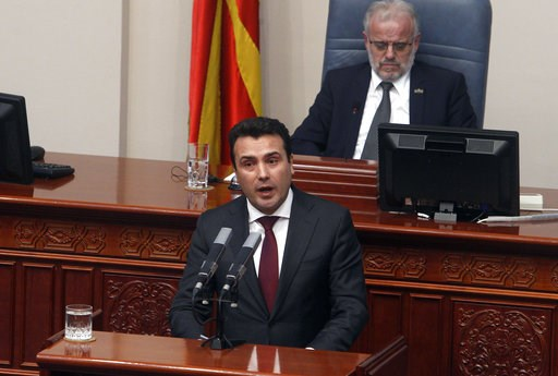(AP Photo/Boris Grdanoski). Macedonian Prime Minister Zoran Zaev speaks during a session of the Macedonian Parliament in the capital Skopje, Wednesday, Jan. 9, 2019. Macedonian lawmakers were in the final stretch Wednesday of renaming their country Nor...