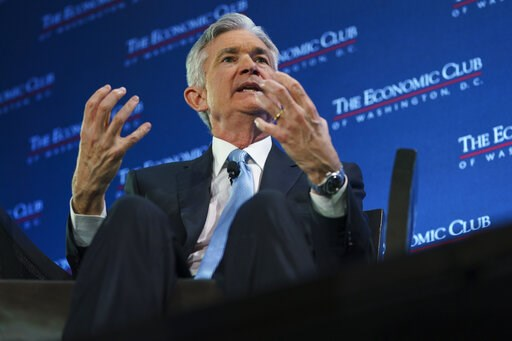 (AP Photo/Carolyn Kaster). Federal Reserve Board Chair Jerome Powell speaks during the Economic Club of Washington luncheon, in Washington, Thursday, Jan.10, 2019.