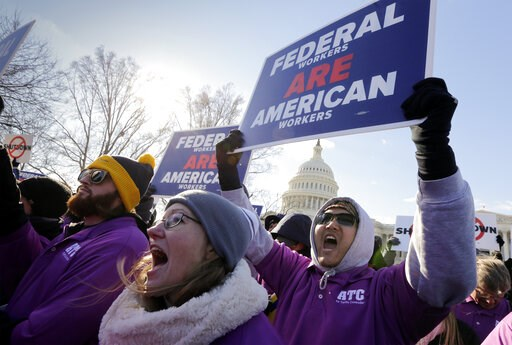 (AP Photo/J. Scott Applewhite). On the 20th day of a partial government shutdown, federal employees rally at the Capitol to protest the impasse between Congress and President Donald Trump over his demand to fund a U.S.-Mexico border wall, in Washington...