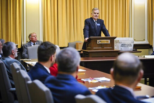 (Thom Bridge/Independent Record via AP, File). FILE - In this Nov. 14, 2018 file photo Senate President Scott Sales, R-Bozeman, addresses the Senate Republican caucus at the State Capitol in Helena, Mont. Montana's Senate president is proposing the sta...
