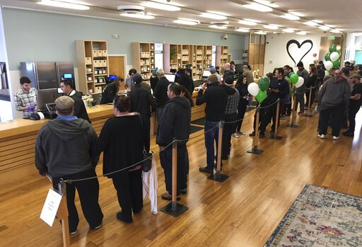 (AP Photo/Terry Chea, file). FILE - In this Jan. 4, 2018, file photo, customers line up inside the Harborside cannabis dispensary in Oakland, Calif. Gavin Newsom's new budget is a figure that says a lot about California's shaky legal marijuana market: ...